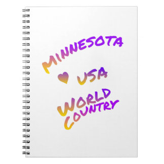 Minnesota usa world country, colorful text art notebook