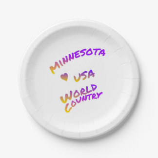 Minnesota usa world country, colorful text art paper plate