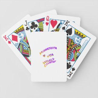 Minnesota usa world country, colorful text art poker deck
