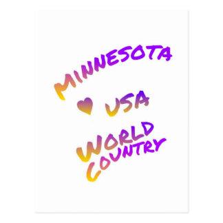 Minnesota usa world country, colorful text art postcard