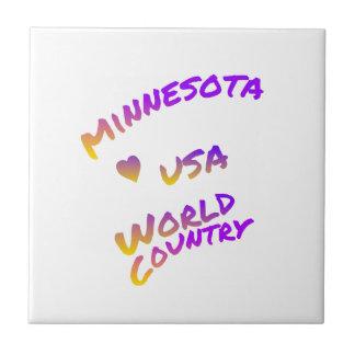 Minnesota usa world country, colorful text art tile