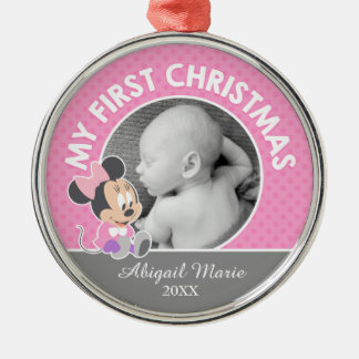 Minnie Baby's First Christmas | Add Your Name Metal Ornament