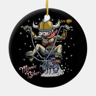 Minnie Biker Round Ceramic Ornament