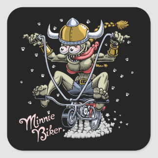 Minnie Biker Square Sticker
