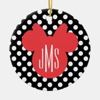 Minnie   Black and White Polka Dot Monogram Ceramic Ornament