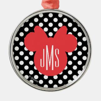Minnie | Black and White Polka Dot Monogram Metal Ornament
