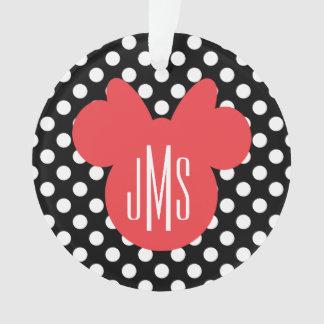 Minnie | Black and White Polka Dot Monogram Ornament
