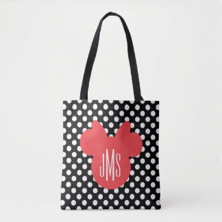 Minnie | Black and White Polka Dot Monogram Tote Bag