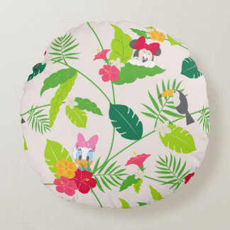 Minnie & Daisy | Tropical Pattern Round Pillow