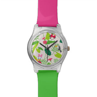 Minnie & Daisy   Tropical Pattern Wristwatch