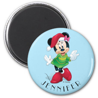 Minnie Dressed For Christmas | Add Your Name Magnet
