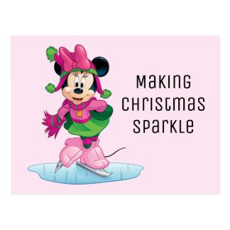 Minnie Ice Skating Postcard