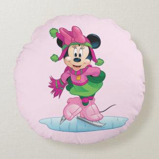 Minnie Ice Skating Round Pillow