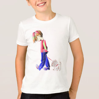 Minnie-me! Boy walking Westie Dog Art T-Shirt
