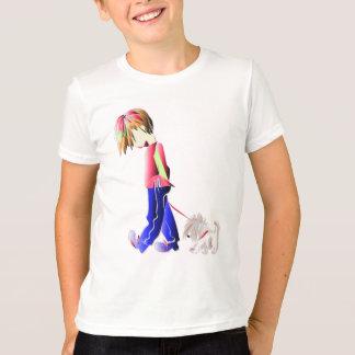 Minnie-me! Boy walking Westie Dog Art T-Shirt