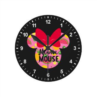 Minnie   Minnie Tropical Logo Round Clock