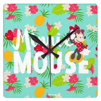 Minnie   Minnie's Tropical Pose Square Wall Clock