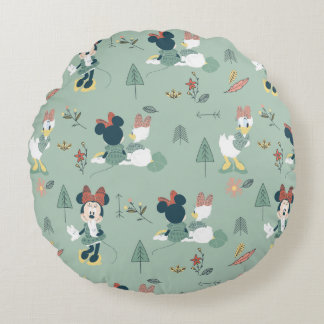 Minnie Mouse & Daisy Duck | Let's Get Away Pattern Round Pillow