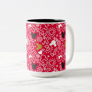 Minnie Mouse | Doodle Pattern Two-Tone Coffee Mug