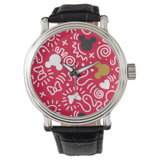Minnie Mouse | Doodle Pattern Wristwatches