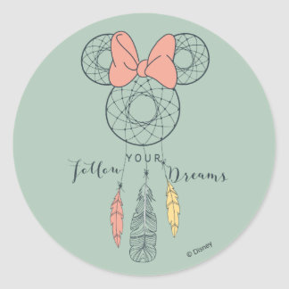 Minnie Mouse Dream Catcher | Follow Your Dreams Round Sticker