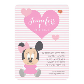 "Minnie Mouse | First Birthday 5"" X 7"" Invitation Card"