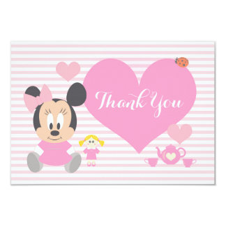 "Minnie Mouse | First Birthday Thank You 3.5"" X 5"" Invitation Card"