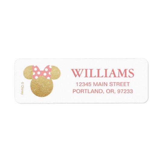 Minnie Mouse | Gold & Pink Birthday Return Address Label