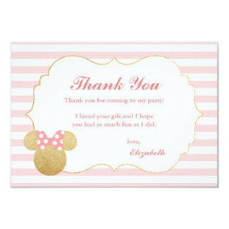 Minnie Mouse | Gold & Pink Birthday Thank You Card