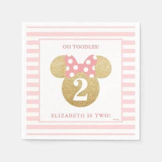 Minnie Mouse | Gold & Pink Striped Birthday Disposable Napkins