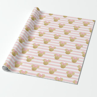 Minnie Mouse | Gold & Pink Striped Birthday Wrapping Paper
