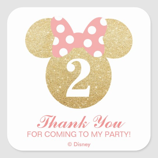 minnie mouse gold pink thank you square sticker zazzle ca