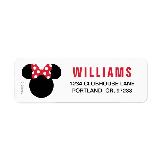 Minnie Mouse | Red and White Birthday Return Address Label