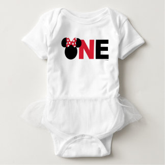 Minnie Mouse | Red & White First Birthday Baby Bodysuit