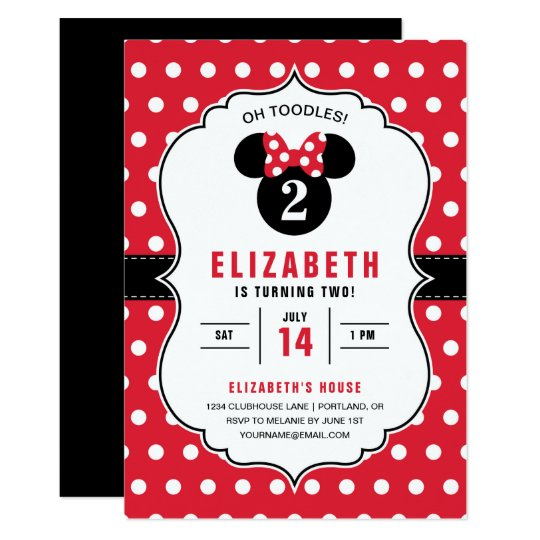 Minnie Mouse Red White Polka Dot Birthday Card Zazzle