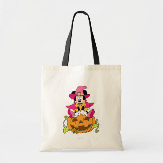 Minnie Mouse Sitting on Jack-O-Lantern Tote Bag