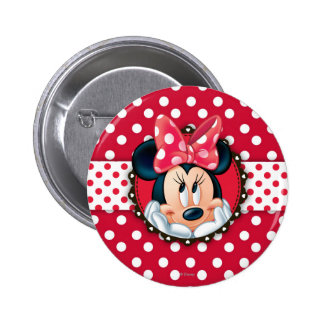 Minnie Mouse | Smiling on Polka Dots 2 Inch Round Button