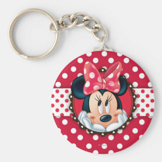 Minnie Mouse | Smiling on Polka Dots Basic Round Button Keychain