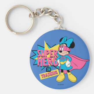 Minnie Mouse | Super Hero in Training Basic Round Button Keychain