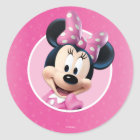 Minnie Pink and White Birthday Classic Round Sticker