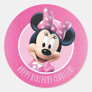 Minnie Pink and White Birthday Round Sticker