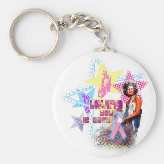 Minnie Pink Ribbon Basic Round Button Keychain