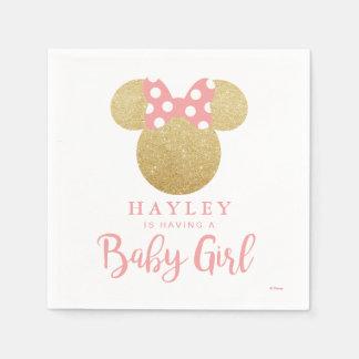 Minnie | Pink Striped Gold Glitter Baby Shower Paper Napkins