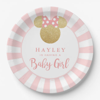 Minnie | Pink Striped Gold Glitter Baby Shower Paper Plate