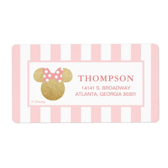 Minnie | Pink Striped Gold Glitter Baby Shower Shipping Label
