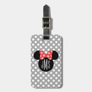 Minnie Polka Dot Head Silhouette   Monogram Bag Tag