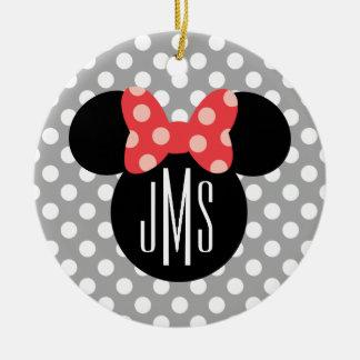 Minnie Polka Dot Head Silhouette | Monogram Ceramic Ornament