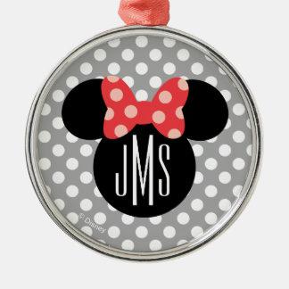 Minnie Polka Dot Head Silhouette | Monogram Metal Ornament