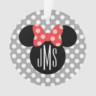 Minnie Polka Dot Head Silhouette   Monogram Ornament