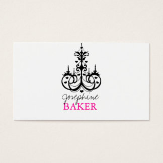 minniemay chandelier+ ombre hearts black and pink business card